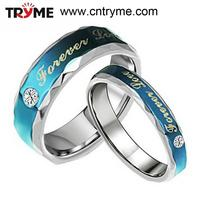 TRYME JEWELRY Stainless steel ring Stainless steel couple ring for retail stainless steel ring jewelry Blue Color Forever love 2