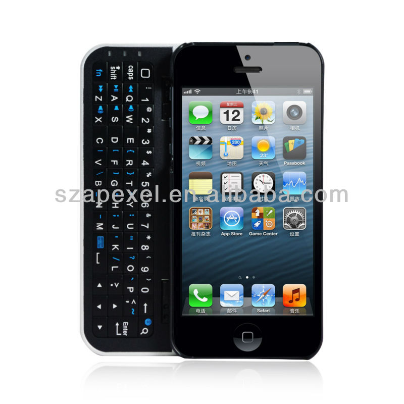 Slide Bluetooth Keypad Wireless Leather Keyboard For iphone 5