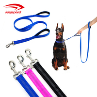 Reflective heavy-duty nylon dual neoprene padded two holders soft traffic double handles dog leads