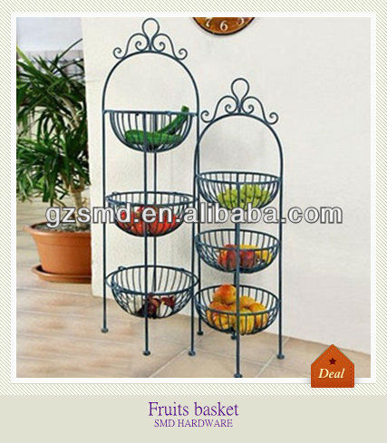 Kitchen Wrought Iron 3 Tier Fruit Basket Stand
