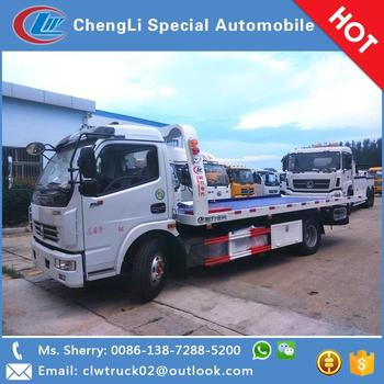 Factory wholesale price DFAC 4*2 flatbed wrecker towing truck