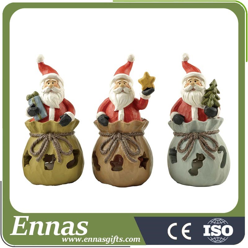 Polyresin Santa Claus & boy on snow base crafts for christmas decoration