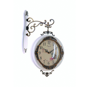 old style big wooden wall double faced clock