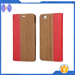 Free sample flip wallet leather case for iphone 6s plus, PC case +pu leather phone case wholsaler