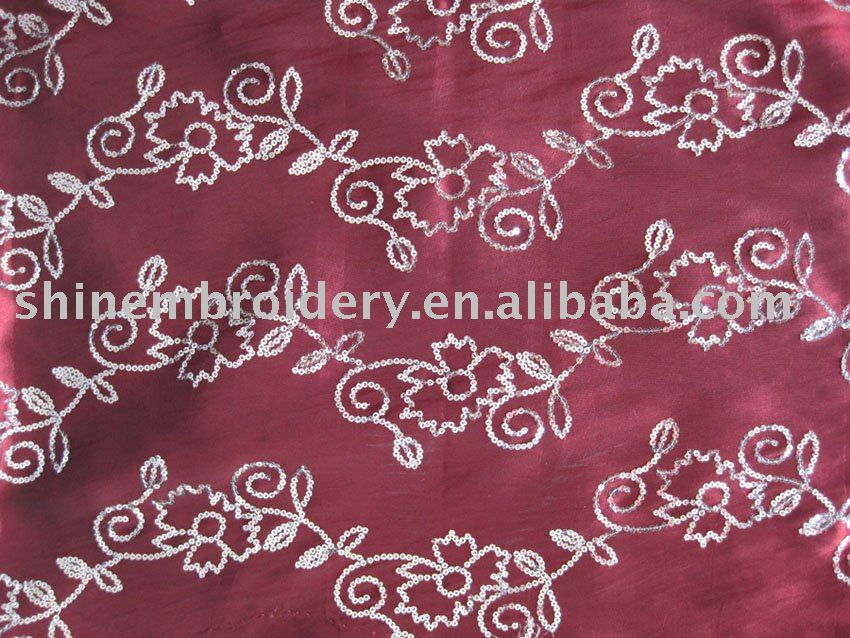 fancy taffeta with 3mm sequin embroidered fabric for dresses, evening dress fabrics