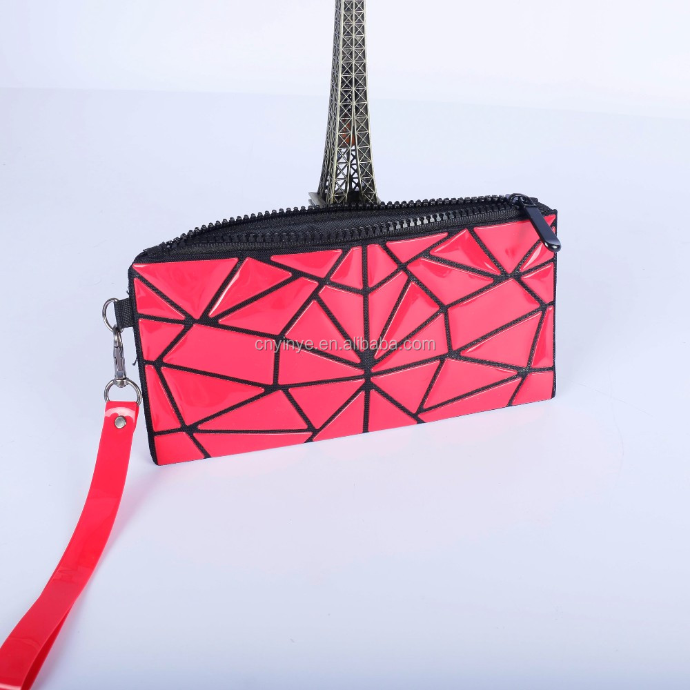 OEM/ODM zipper style hot selling pu leather clutch bag coin purse hand bag diamond tote bag