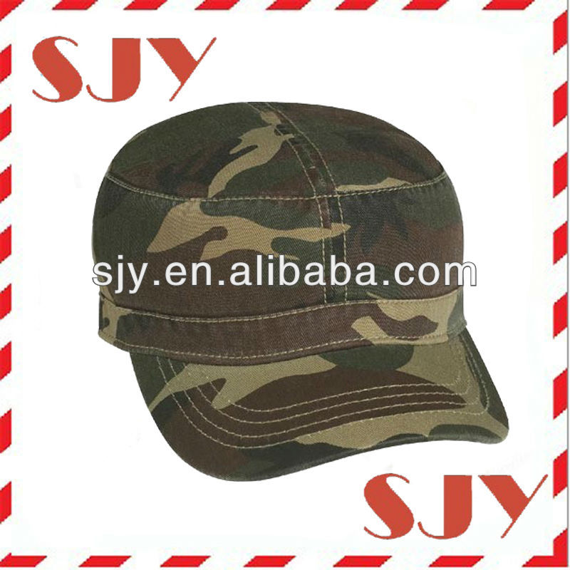 Camo cotton washed & distressed military design hat