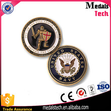 Zinc alloy casting metal coins fashion badge soft enamel military metal emblem