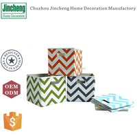 Colorful printing linen fabric foldable storage box