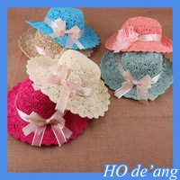 HOGIFT Princess handmade flowers hollow straw hat,bow beach hat,colorful sun hat