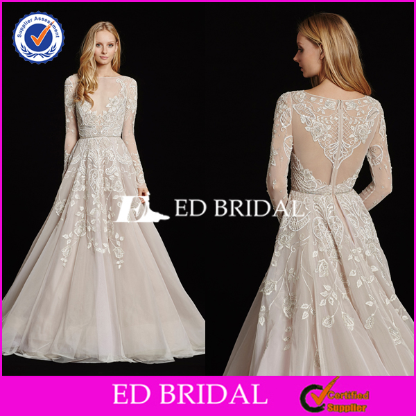 Factory Custom Made Elegant Sexy See Through Corset Wedding Dress Long Sleeve 2016