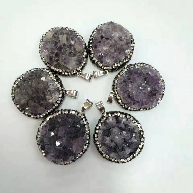 Freeform Large Amethyst Cluster Pendant pave cz silver bail round and waterdrop druzy agate necklace charm