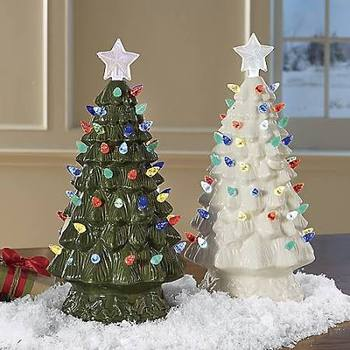 Tabletop Decorative Lighted LED Bulb Porcelain Artificial ceramic christmas tree with lights