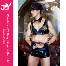 New Black leather teddy suit Cosplay men police costume lingerie for Carnival