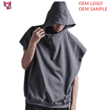 Comfortable 1/4 Zip Pull Over Men Vest Hooded Fitness Sleeveless Hoodies Gym Tank Hoodies