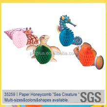 Sea Creature Characters Paper Honeycomb for Hawaiian Luau party decoration