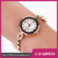 2015 New Brand Women's Pave Crystal Inlaid Suede Leather Band Gold Plated Tiny Round Dial Analog Quartz Wrist Watch XR664