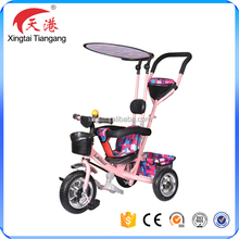 2017 new model high quality air tyre steering push bar baby tricycle kids stroller tricycle