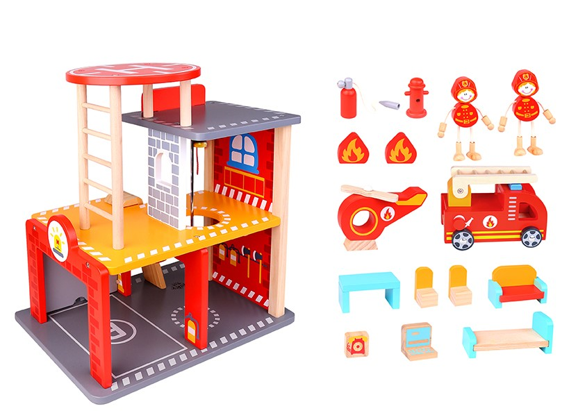 Wholesale funny kids wooden toy fire station hot sale children wooden toy fire station