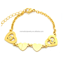 New Arrival Design Heart Centerpiece with Zircons Gold Bangle Gift for Girl Friend Bracelet Friendship