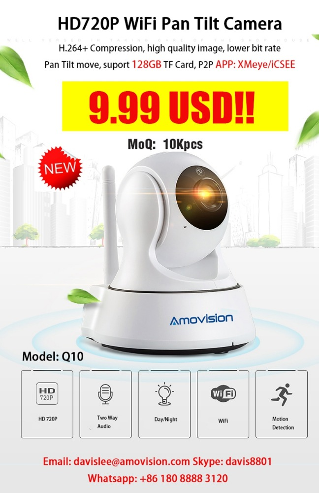 Amovision <strong>Q10</strong> 9.99 USD cheapest price HD720P pan tilt ip wireless wifi camera