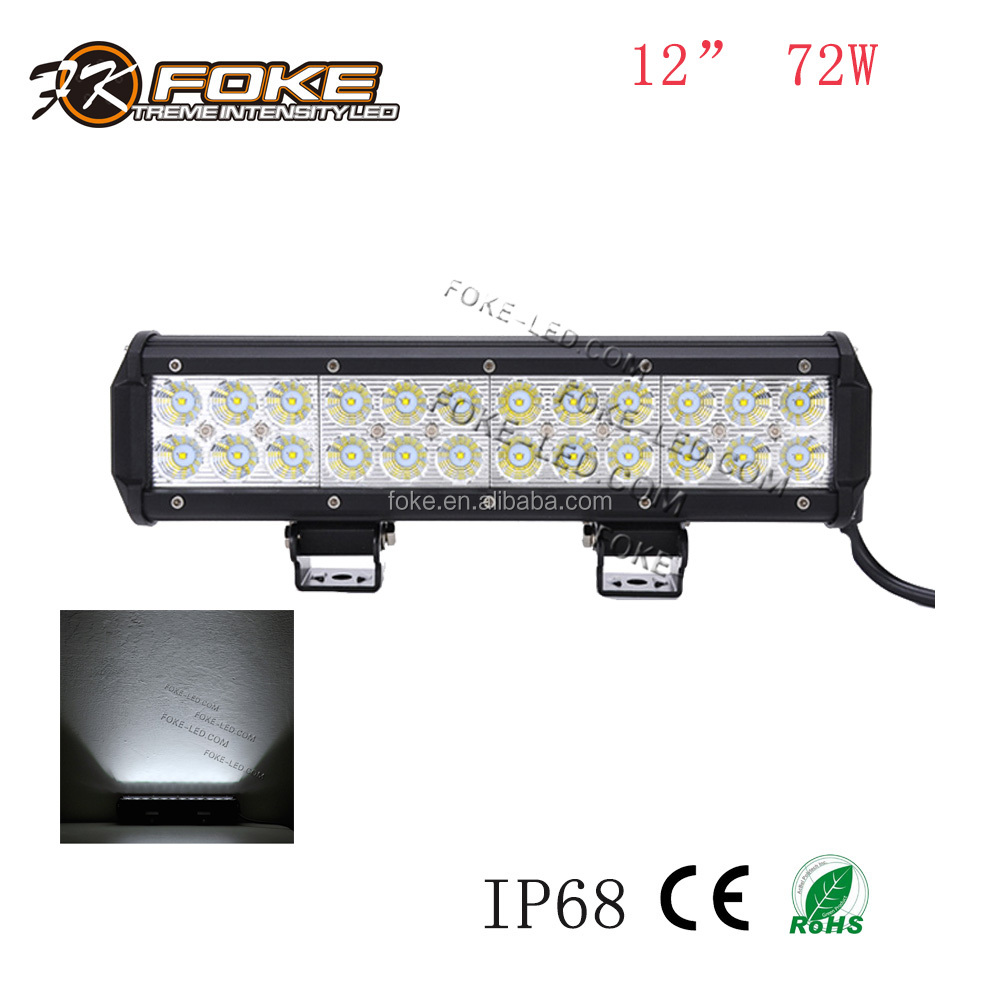 "foshan factory 12 inch 72W led light bar 12"" 12"" auto part 4x4 offroad jeep boat"