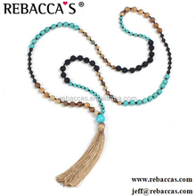 Sandy Tassel Yoga Meditation Necklace Clear Quartz And Wooden Beads Mala Necklace Latest Design Beads Necklace
