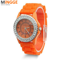 Fashion LADIES WOMEN Silicone GENEVA Rhinestone Quartz Wrist Watch