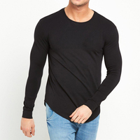 Wholesale OEM Mens Blank Tshirt No Label Long Sleeve Curved Hem Cotton T shirts