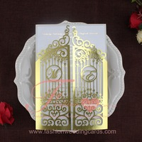 Hot Sale Unique Gold And Silvery Luxury Blank Laser Cut Wedding Invitations Cards