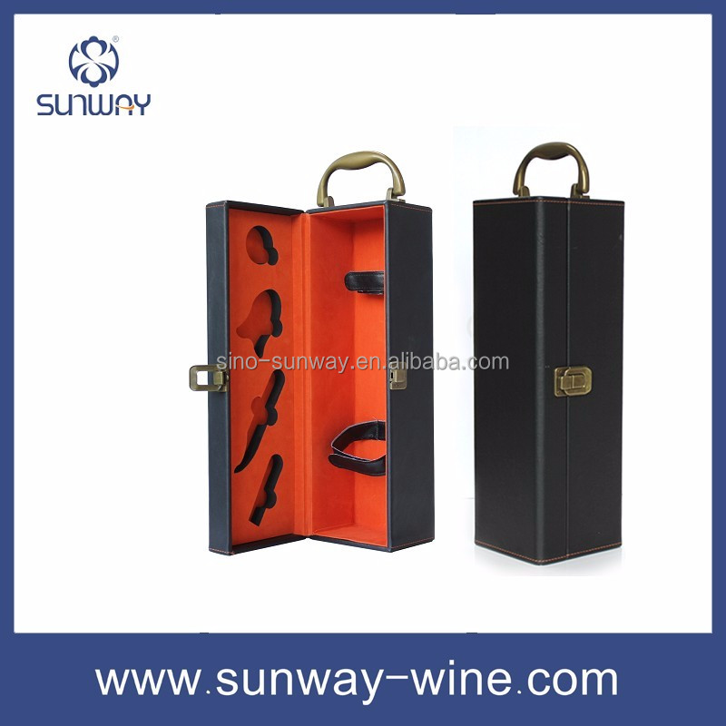 Custom Gift Portable Wine Bottle Gift packaging Wine Box Leather Wine Boxes