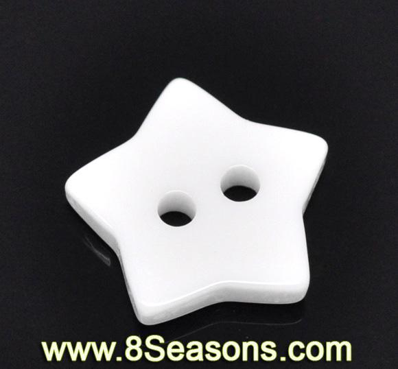 Star Shaped 2 Holes Resin White Sewing Buttons Scrapbooking 15x15mm, sold per pack of 200,8Seasons