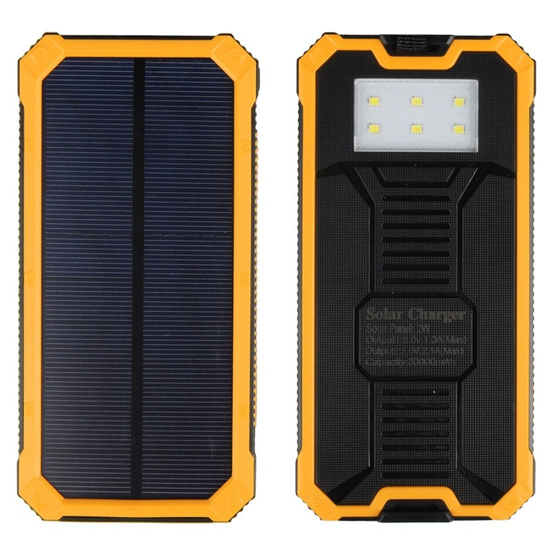 12000mAh Travel Waterproof Solar Power Bank Dual USB External Battery Solar Charger Powerbank for All phone With LED Camp Light