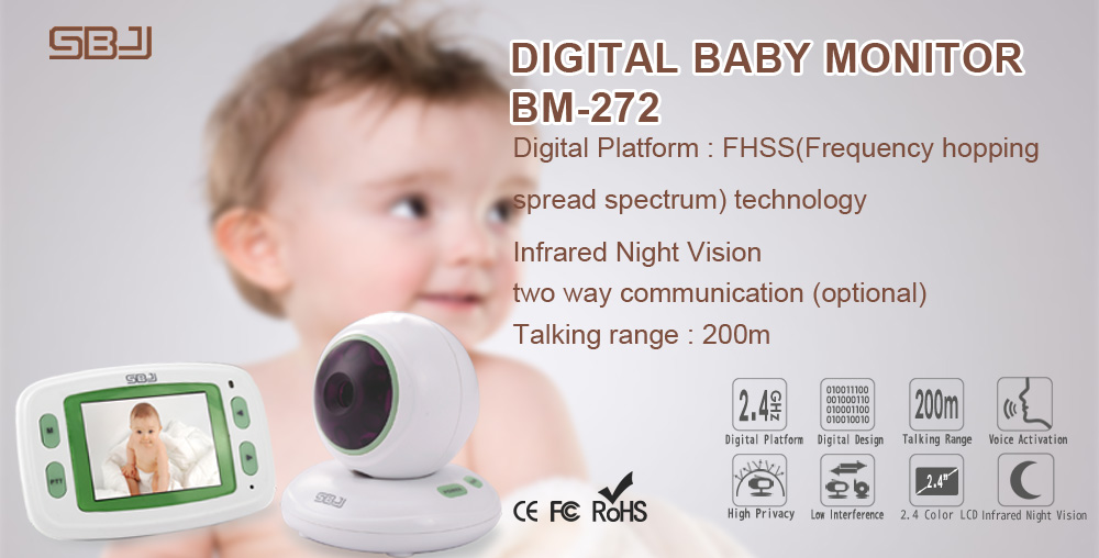 New Model 2.4Ghz Digital Wireless Video Baby Monitor Night Vision Night light two way communication