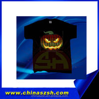100% cotton flashing colorful China LED t-shirt for promotion