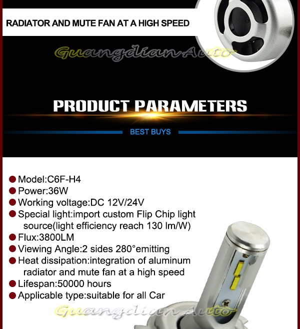 Lightpoint new design highlight philis condenser H4 car led headlight 3800lm car led headlight 40w auto lamp