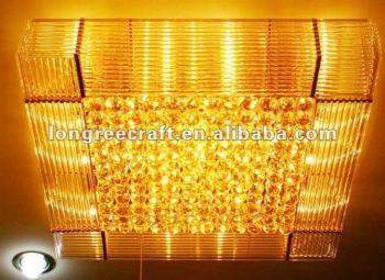 Five Star Hotel Decor Suspended Square Lighting Crystal Ceiling