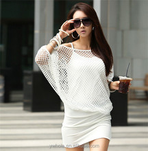 OEM Service Cheap Women Batwing Hollow Mesh Dress Ladies Party Mini Dress
