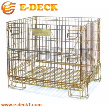 Industry factory use stacking pet bottles foldable metal welded wire mesh storage cage