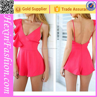 Hexinfashion sexy pink girls nice backless stylish short jumpsuit