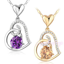 Wholesale necklaces jewelry necklace gold plated crystal heart stylish necklace accessories for women
