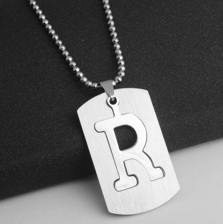 Wholesale Korea Fashion Classic Simple Personality Letter Alphabet Stainless Steel Jewelry Necklace <strong>Pendant</strong> For Women