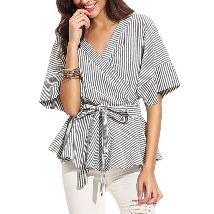 Black And White Stripe Bow Wrapped Shirt Women Half Sleeve V Neck Sexy Blouse