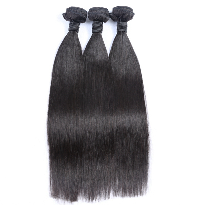 Silky straight wave natural black color double weft 100% human hair, virgin brazilian hair
