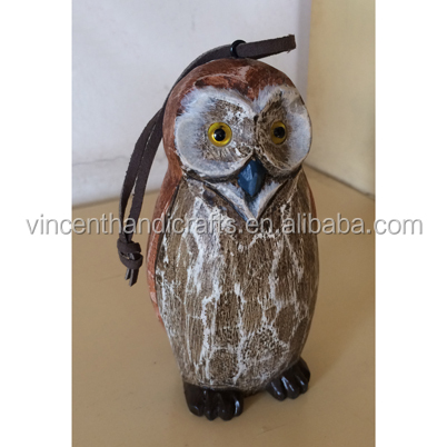 Hand carved wooden owl decor, hanging owl statue, sculpture, wood collectible animal figurine