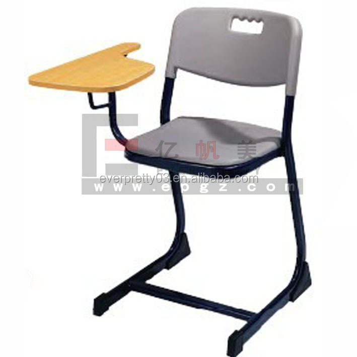 High school furniture classroom Plastic Student Chair With Wood Writing Pad