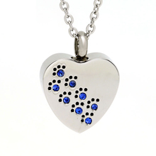 Marlary Necklace Designs Heart Shape Pet Paw Print Urn Pendant Memorial Jewellery