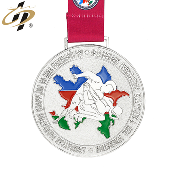 Custom round cheaper own design metal silver judo sports medal