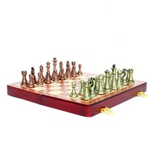 Folding Wooden Chess Set With Metal Retro Chess Pieces