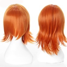 Short Bright Orange Micro Curly Hair Toupee Men's Wig